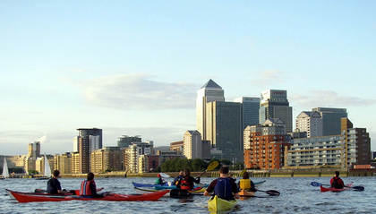 Canary Wharf from Deptford (click to enlarge)