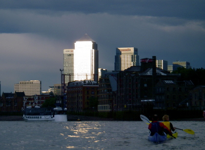 Thunder storms over Canary Wharf