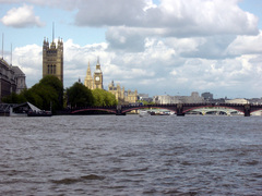 View from Vauxhaul looking down river towards Westminster (click to enlarge)